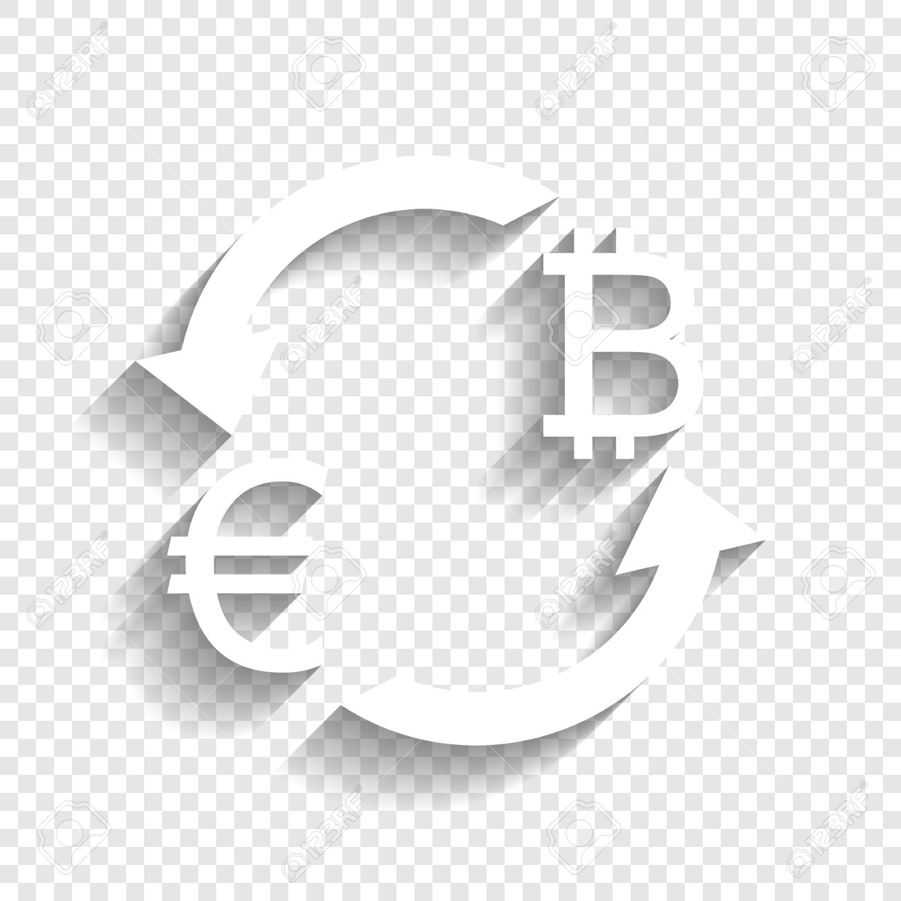 Transparent Background Currency Exchange Sign Euro And Bitcoin Vector White Icon With Soft Shadow On