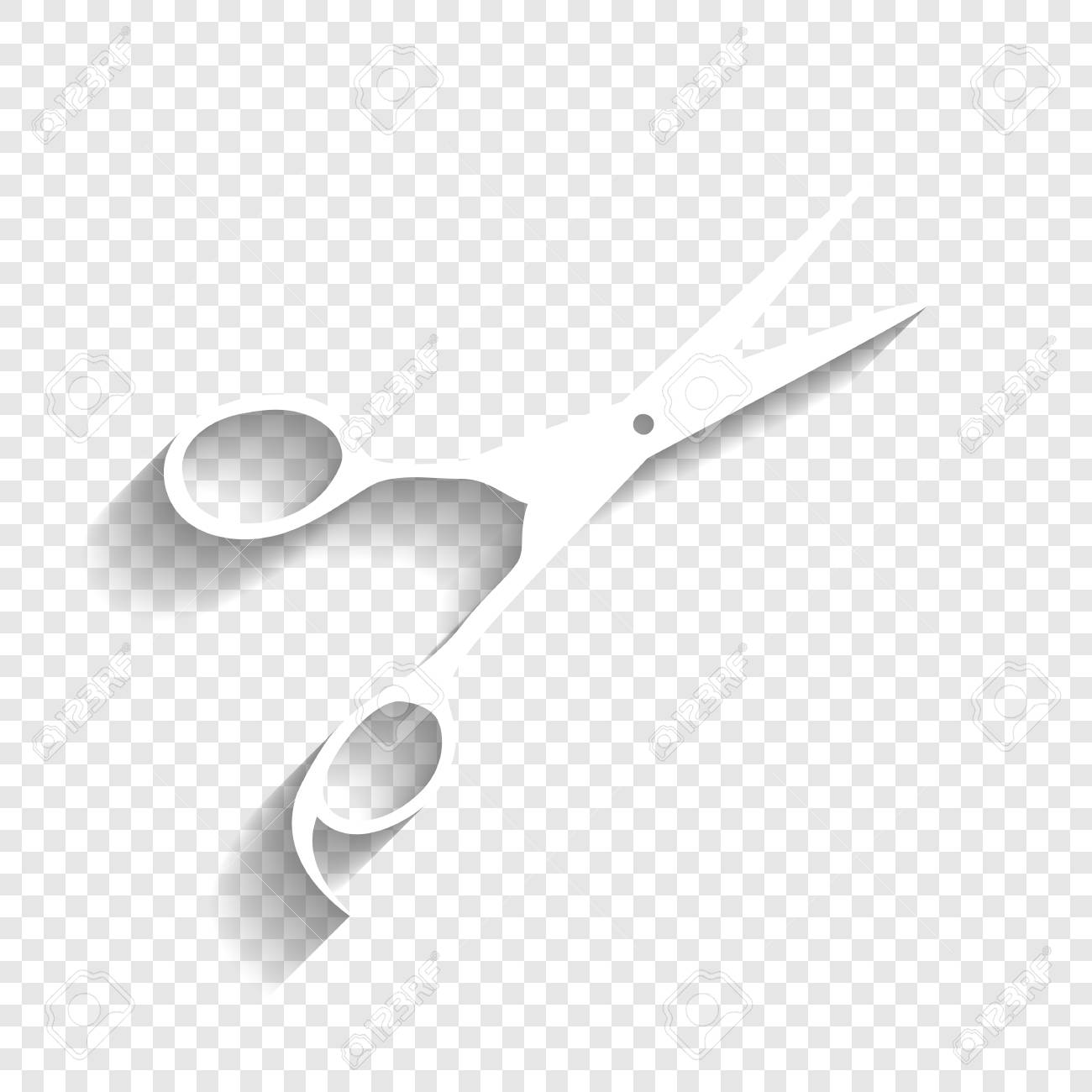 Hair cutting scissors sign. Vector. White icon with soft shadow..