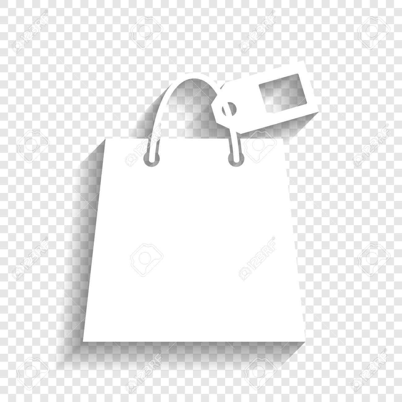 Shopping Bag Sign With Tag Vector White Icon With Soft Shadow