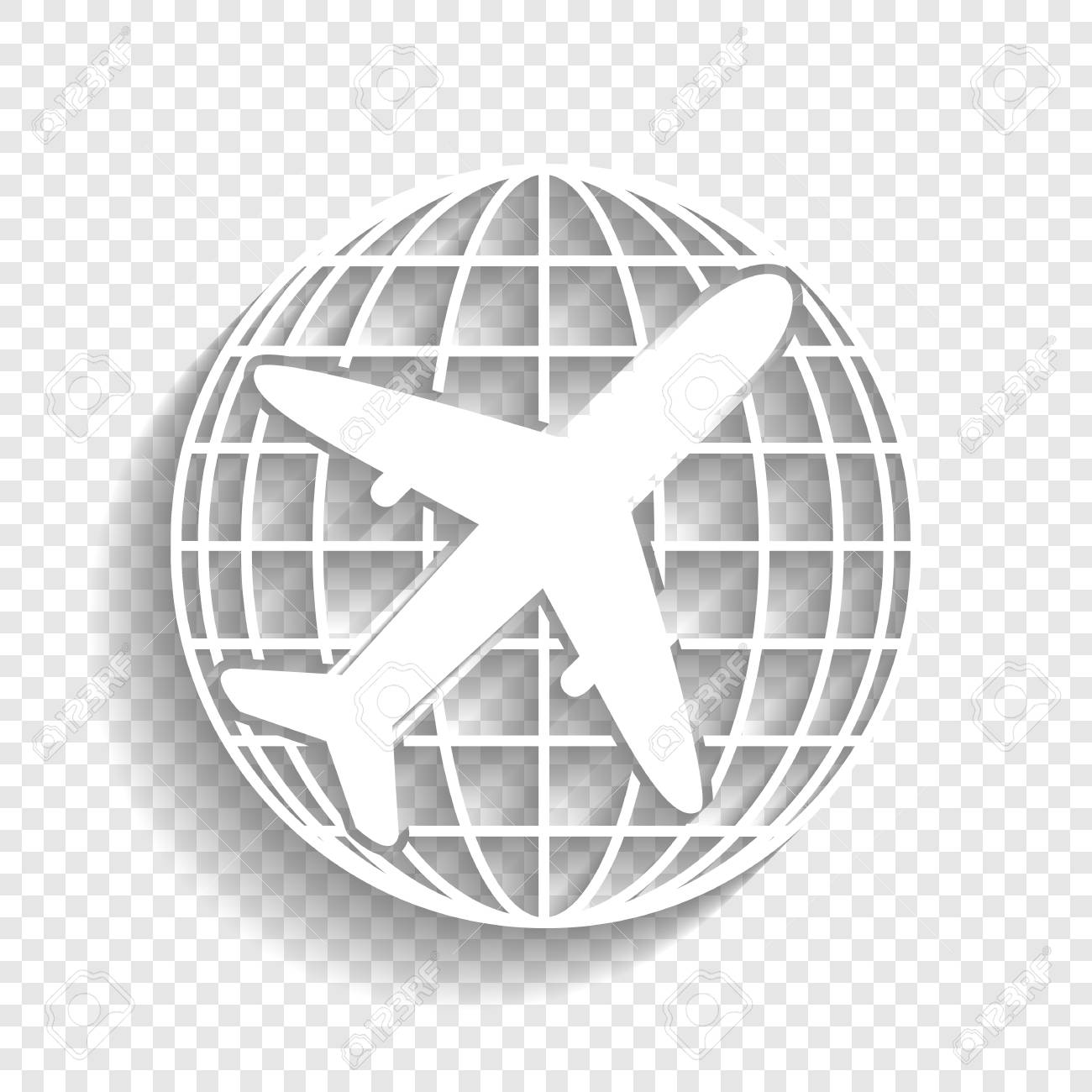 Globe and plane travel sign  Vector  White icon with soft shadow