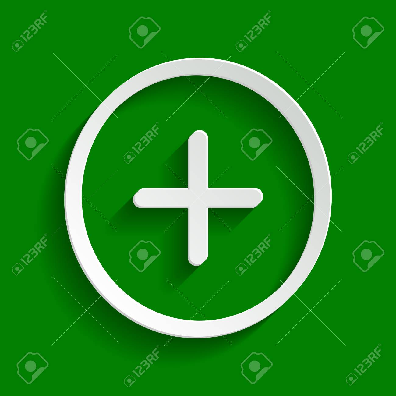 Positive symbol plus sign vector paper whitish icon with soft positive symbol plus sign vector paper whitish icon with soft shadow on green background biocorpaavc Choice Image