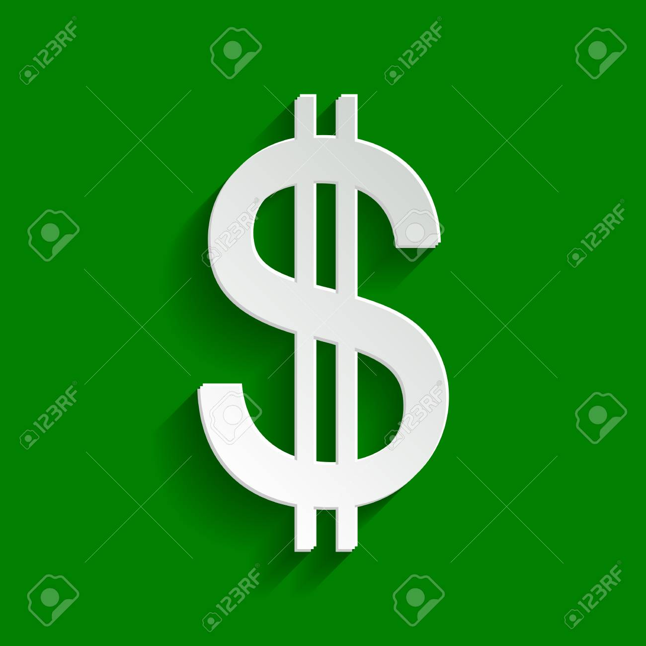 United states Dollar sign  Vector  Paper whitish icon with soft