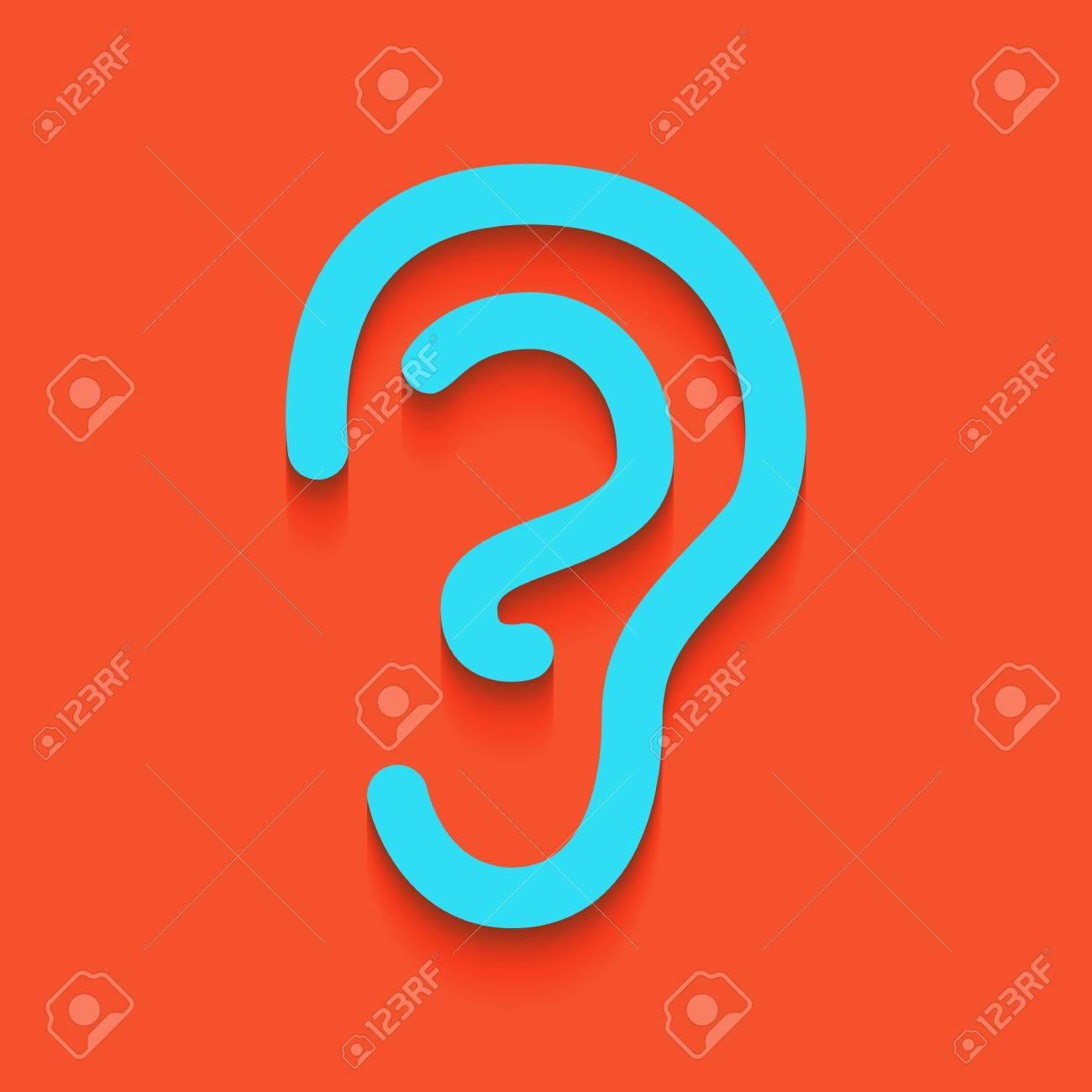 Menschliche Anatomie. Ohr-Zeichen. Vektor. Weißliche Ikone Auf ...