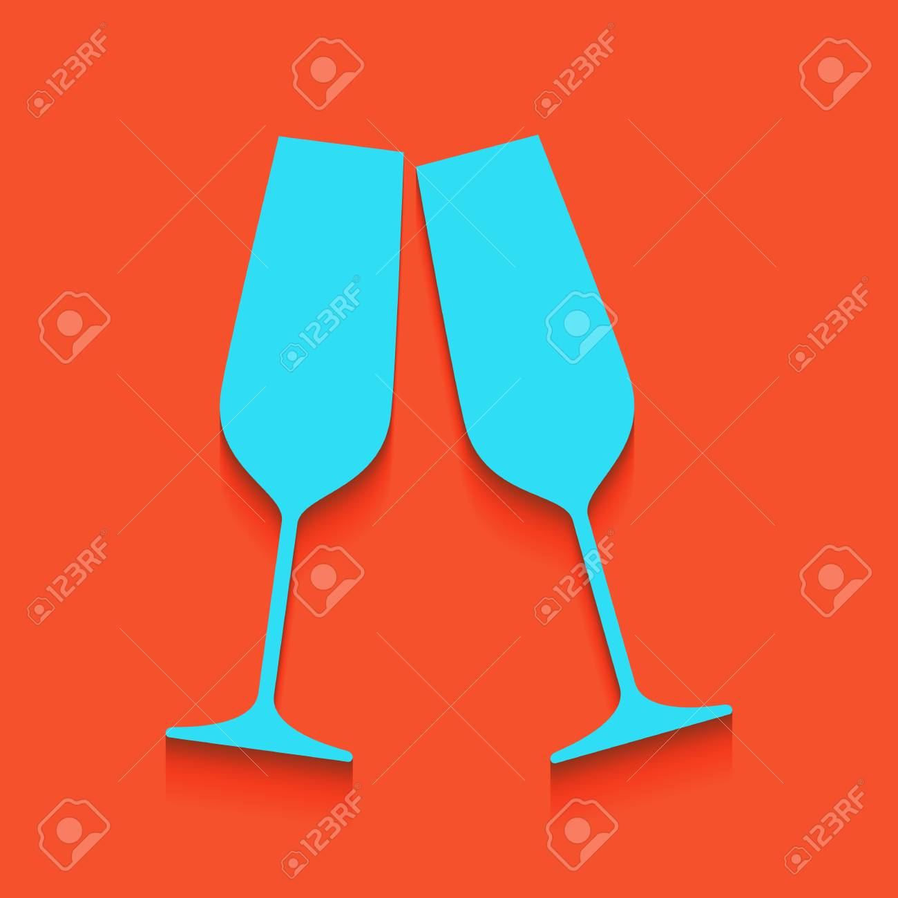 5ae49d1db9 Sparkling champagne glasses. Vector. Whitish icon on brick wall as  background. Stock Vector