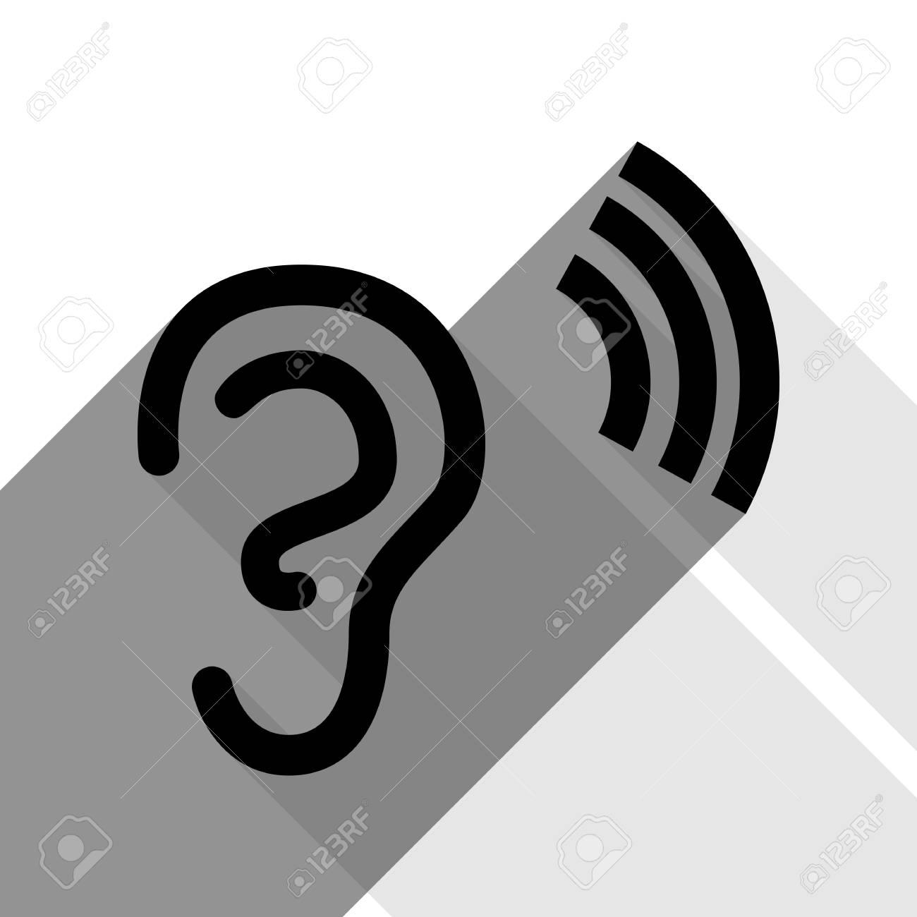 Anatomía Humana. Señal De Oído Con Soundwave. Vector. Icono Negro ...