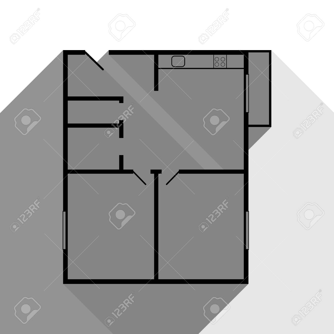 . Apartment house floor plans  Vector  Black icon with two flat