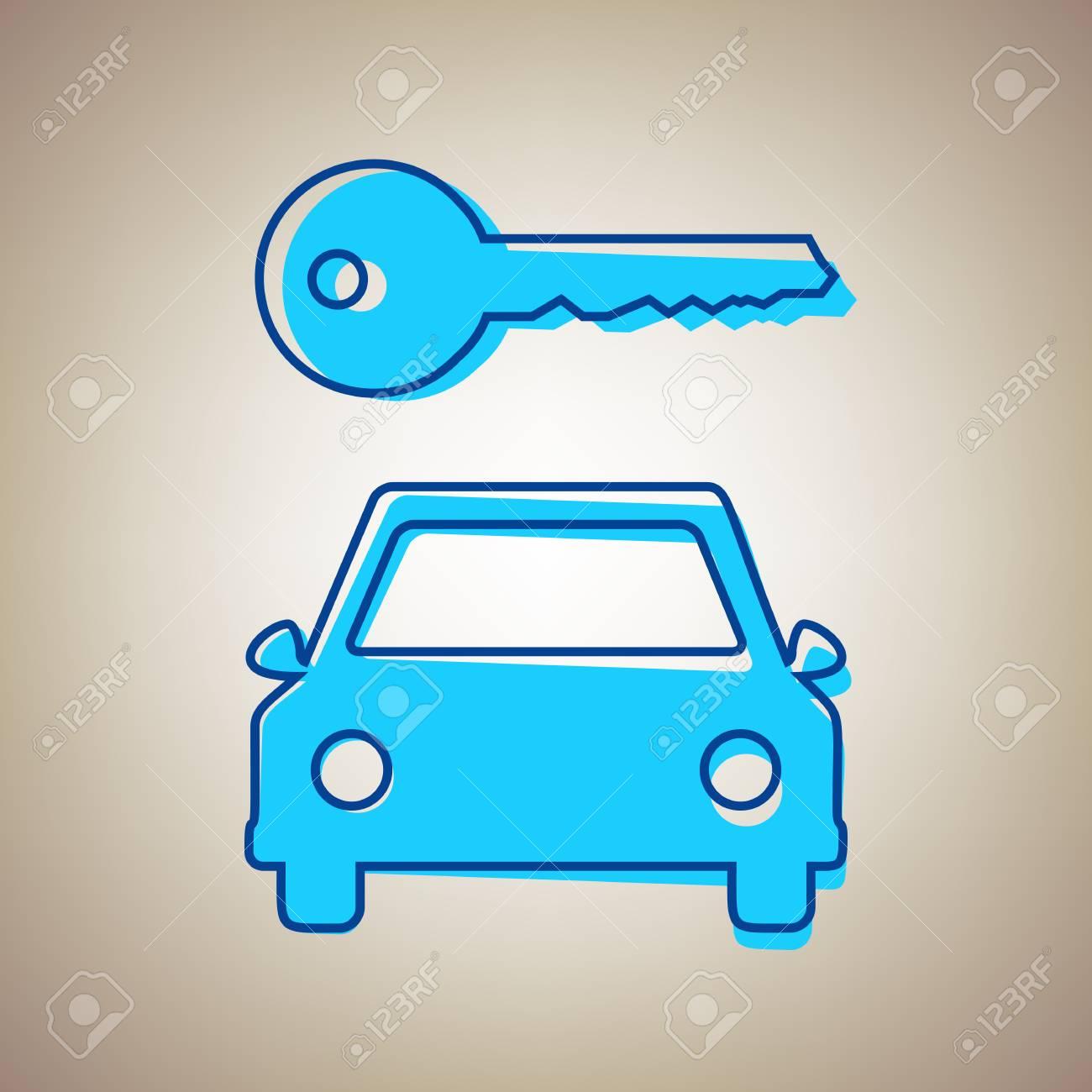 Einfaches Zeichen Des Autoschlüssels. Vektor. Himmelblaue Ikone Mit ...