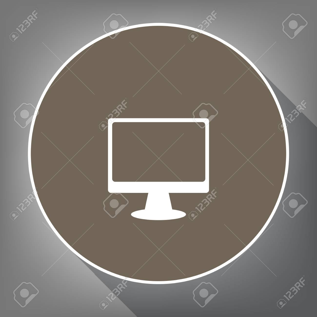 Monitor with brush sign  Vector  White icon on brown circle with