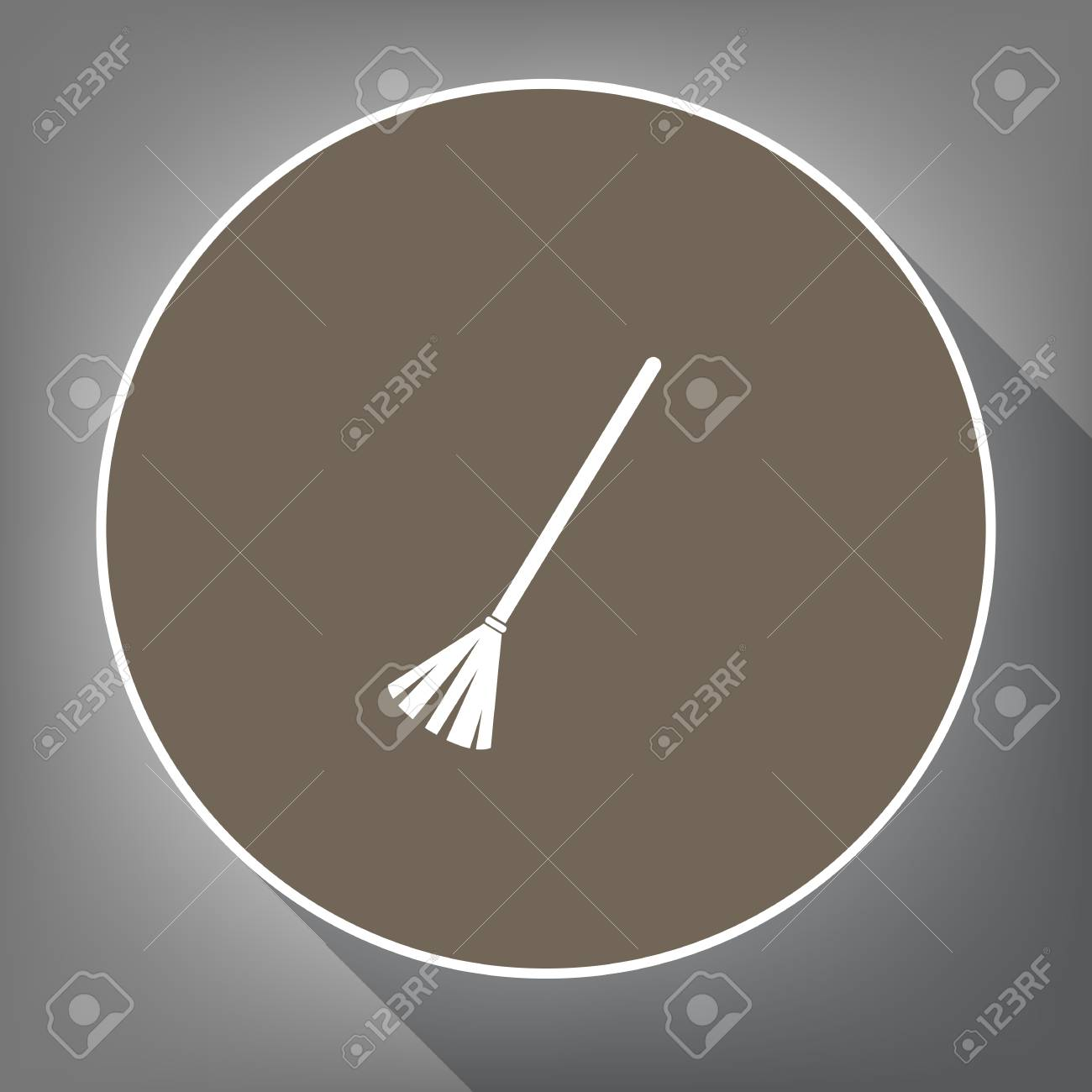balayage des balais. vecteur. icône blanche sur un cercle marron
