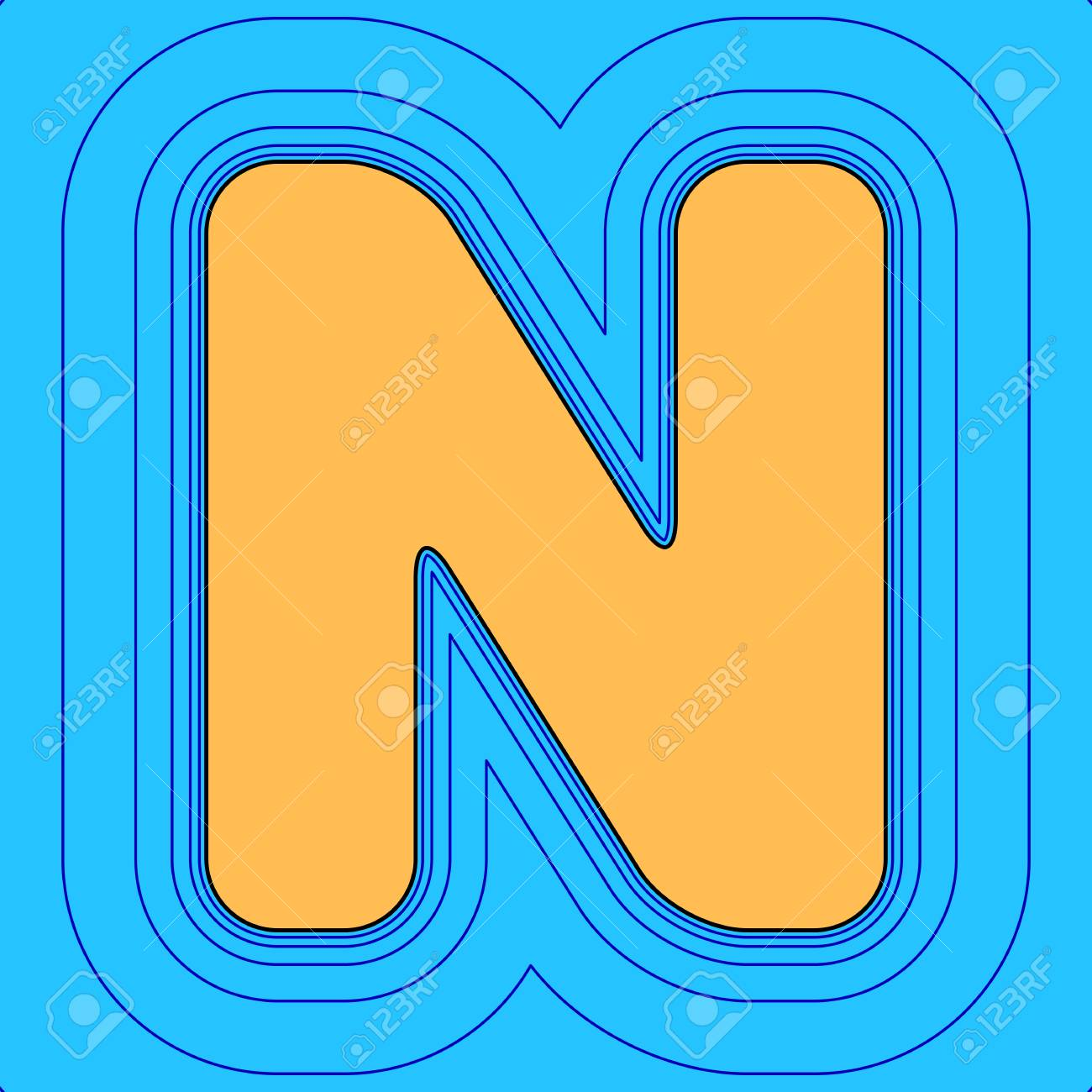 Letter n sign design template element sand color icon with black letter n sign design template element sand color icon with black contour and equidistant blue maxwellsz