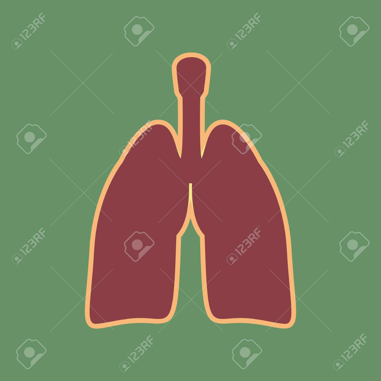 Human Anatomy Lungs Sign Vector Cordovan Icon And Mellow Apricot Halo With Light