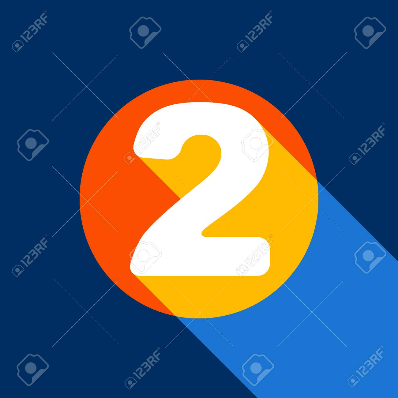 Number 2 sign design template elements. Vector. White icon on tangelo circle with infinite shadow of light at cool black background. Selective yellow and bright navy blue are produced. - 90134392