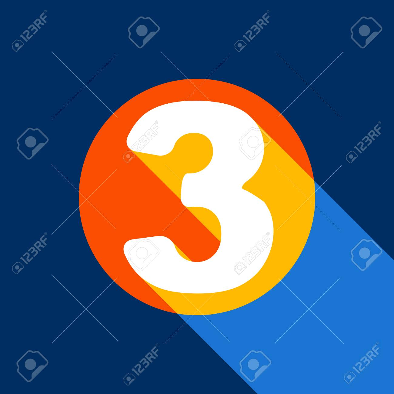 Number 3 sign design template element. Vector. White icon on tangelo circle with infinite shadow of light at cool black background. Selective yellow and bright navy blue are produced. - 90133840