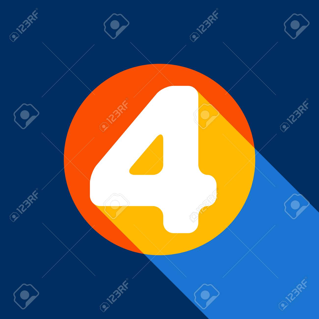 Number 4 sign design template element. Vector. White icon on tangelo circle with infinite shadow of light at cool black background. Selective yellow and bright navy blue are produced. - 90133841