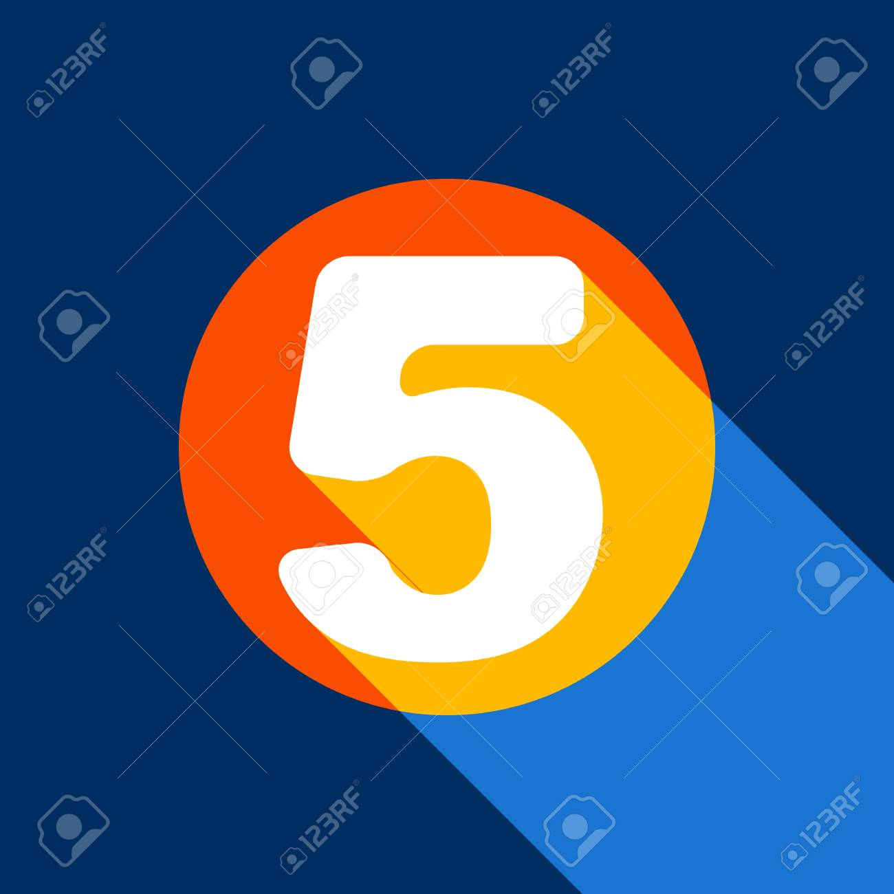 Number 5 sign design template element. Vector. White icon on tangelo circle with infinite shadow of light at cool black background. Selective yellow and bright navy blue are produced. - 90133842