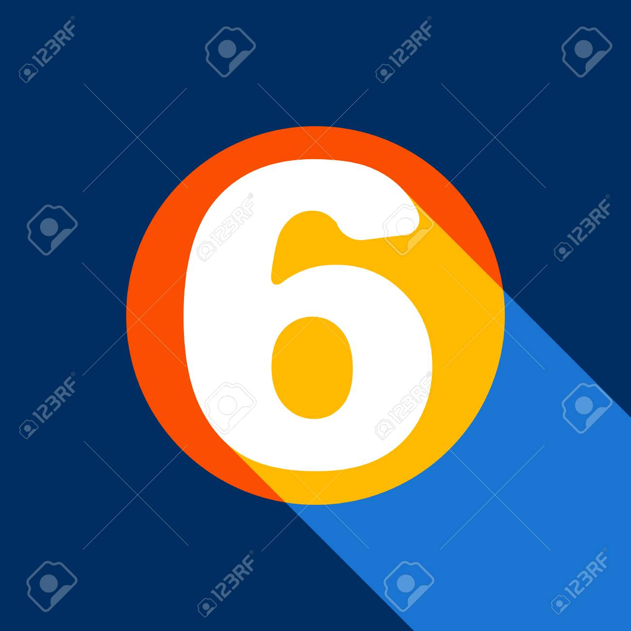 Number 6 sign design template element. Vector. White icon on tangelo circle with infinite shadow of light at cool black background. Selective yellow and bright navy blue are produced. - 90133843