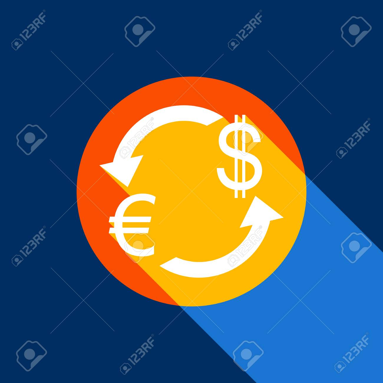 Currency Exchange Sign Euro And Dollar Vector White Icon On