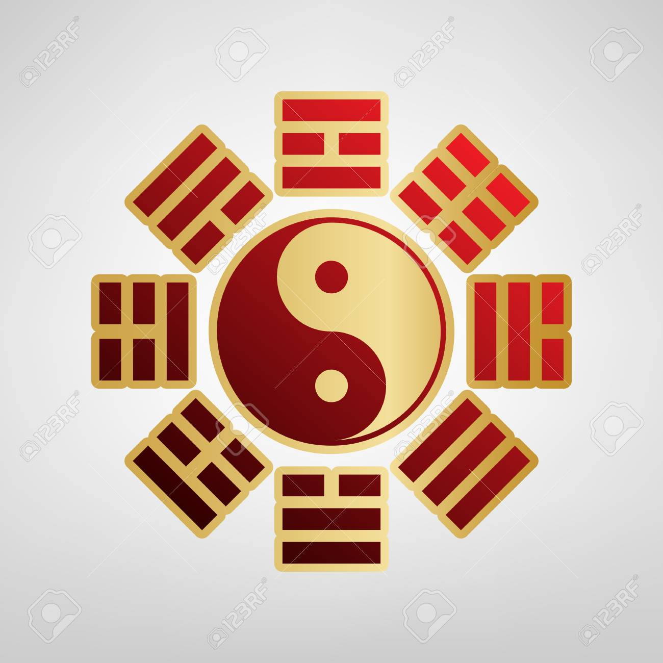 Yin and yang sign with bagua arrangement. Vector. Red icon on gold sticker at light gray background. - 90237105