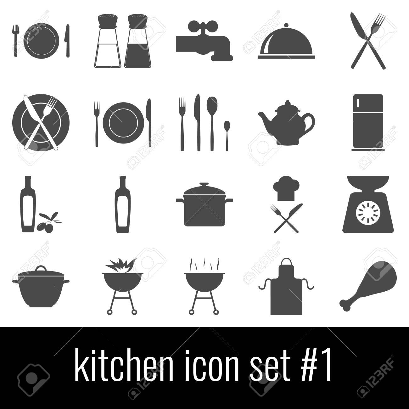 Kitchen Icon Set 1 Gray Icons On White Background