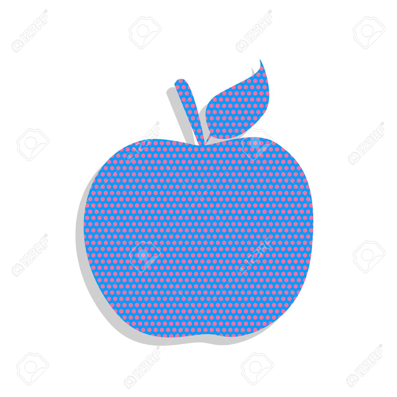 apple sign illustration. vector. neon blue icon with cyclamen