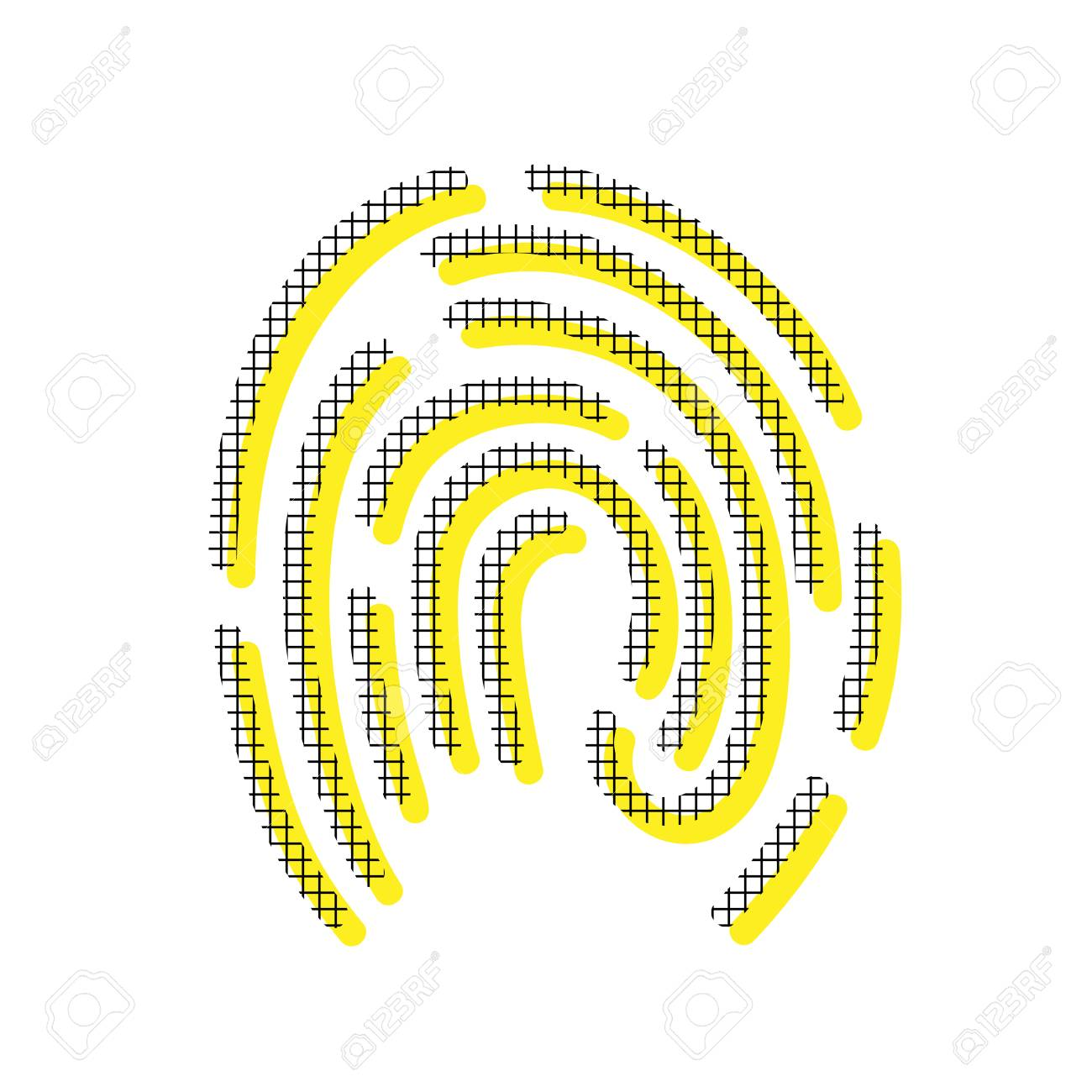 Fingerprint In Yellow And Black Icon With Square Pattern. Royalty ...