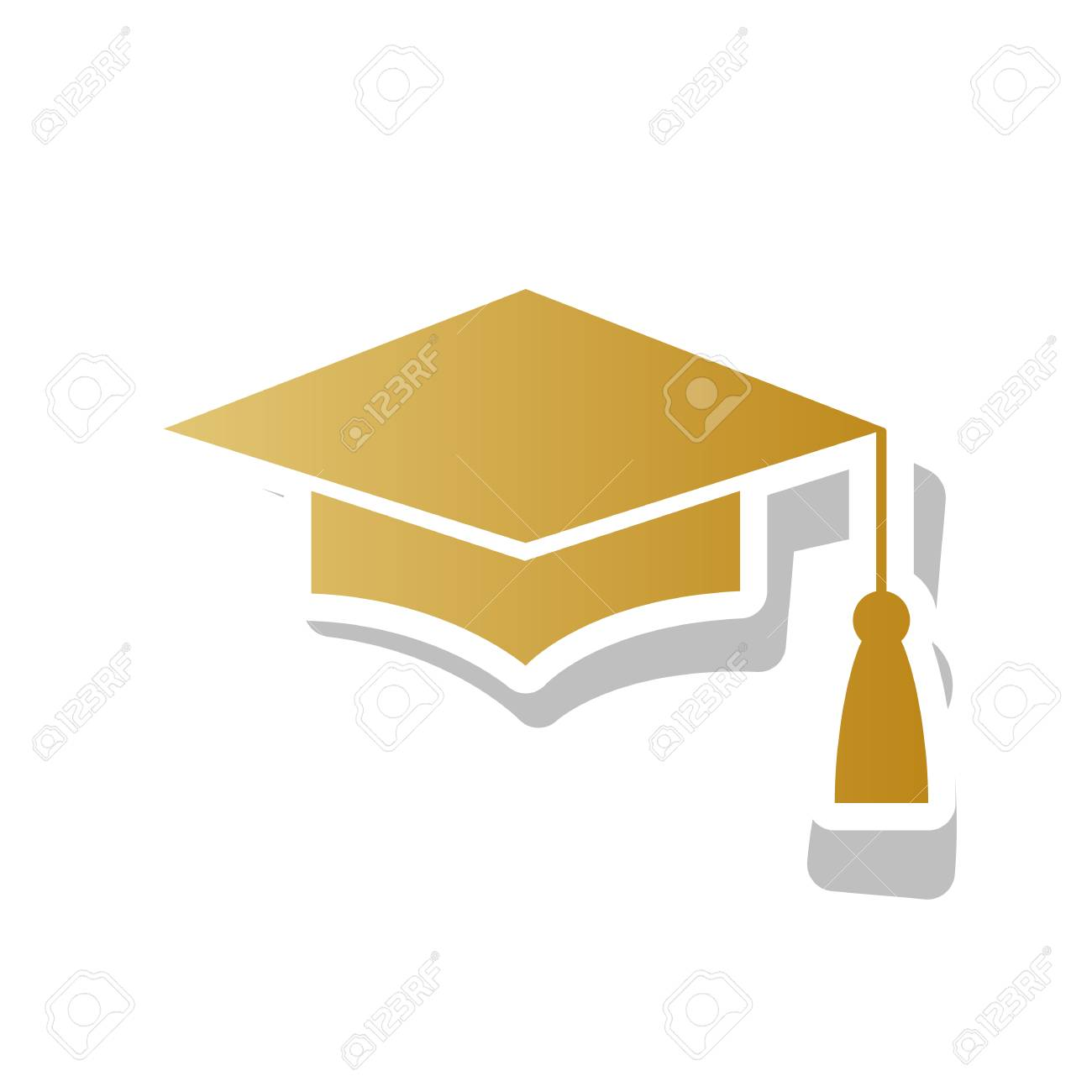 Mortar Board Or Graduation Cap Education Symbol Vector Golden