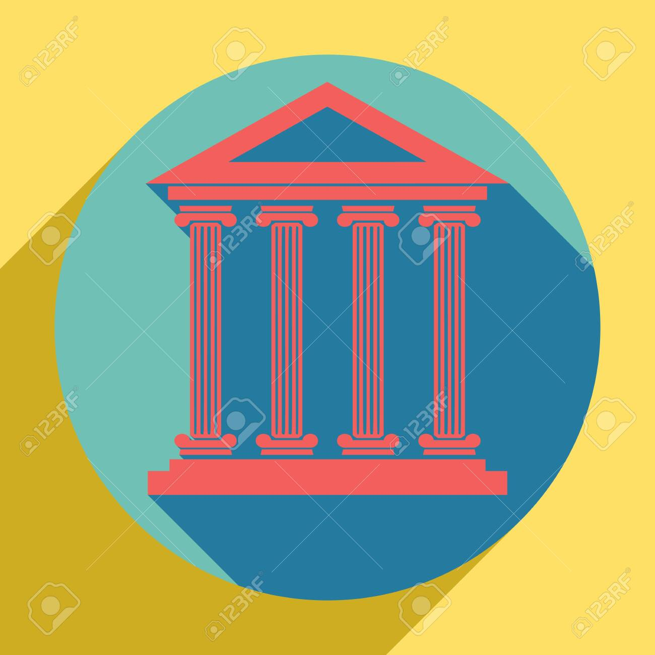 Historical building illustration. Sunset orange icon with shadow inside medium aquamarine circle with different goldenrod shadow at royal yellow background. - 121596863
