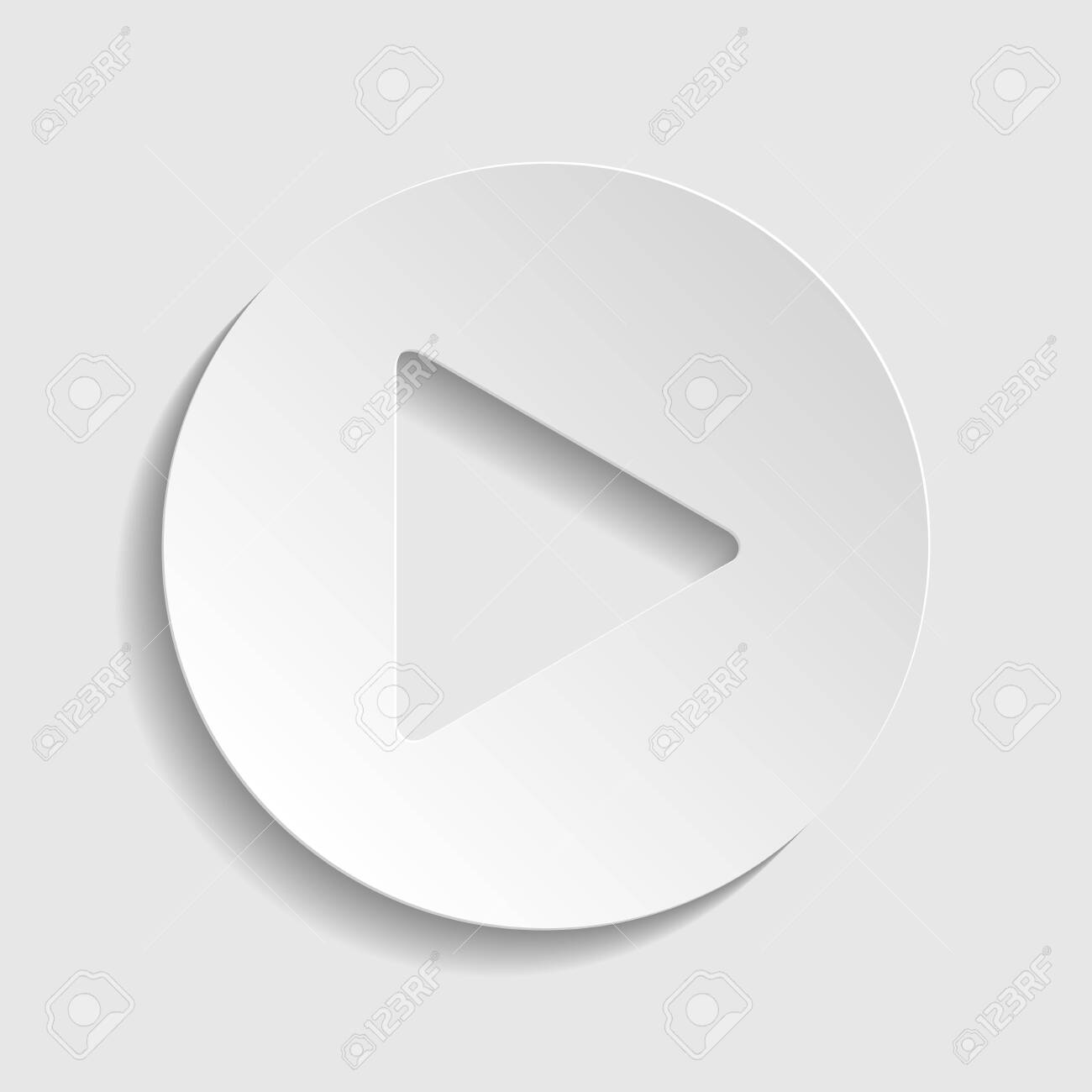 Play button icon with hand sign. Paper style icon. - 128313415