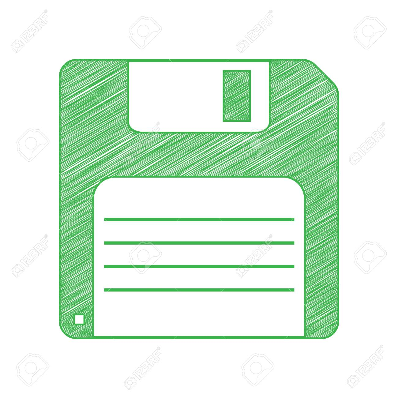 Floppy disk sign. Green scribble Icon with solid contour on white background. - 144915185