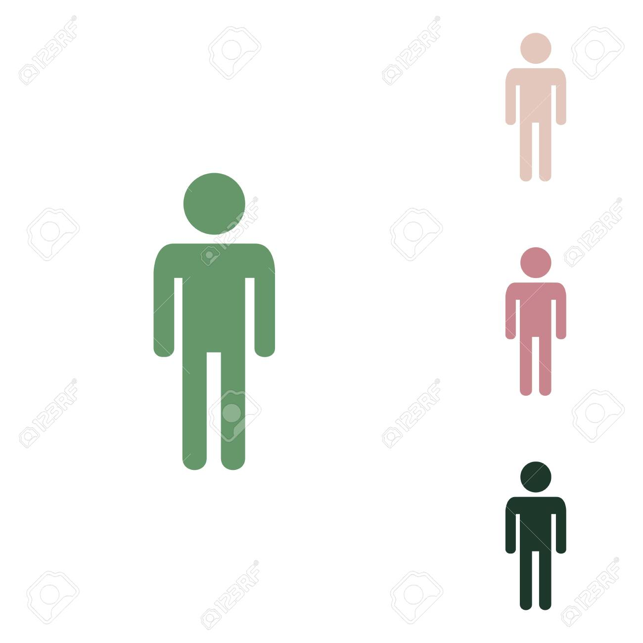 Man sign illustration. Russian green icon with small jungle green, puce and desert sand ones on white background. - 148103648