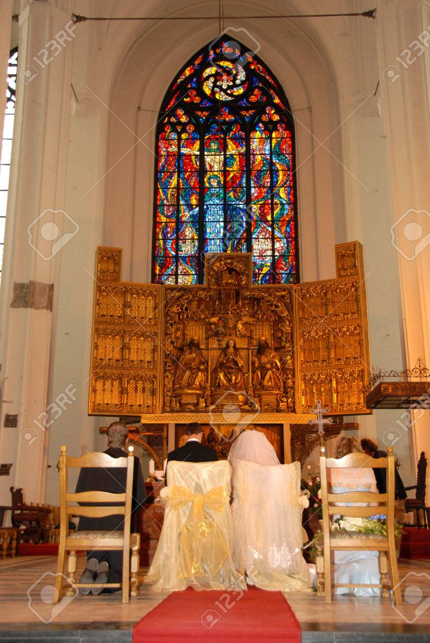 Young couple at the altar about to get married Stock Photo - 1674166