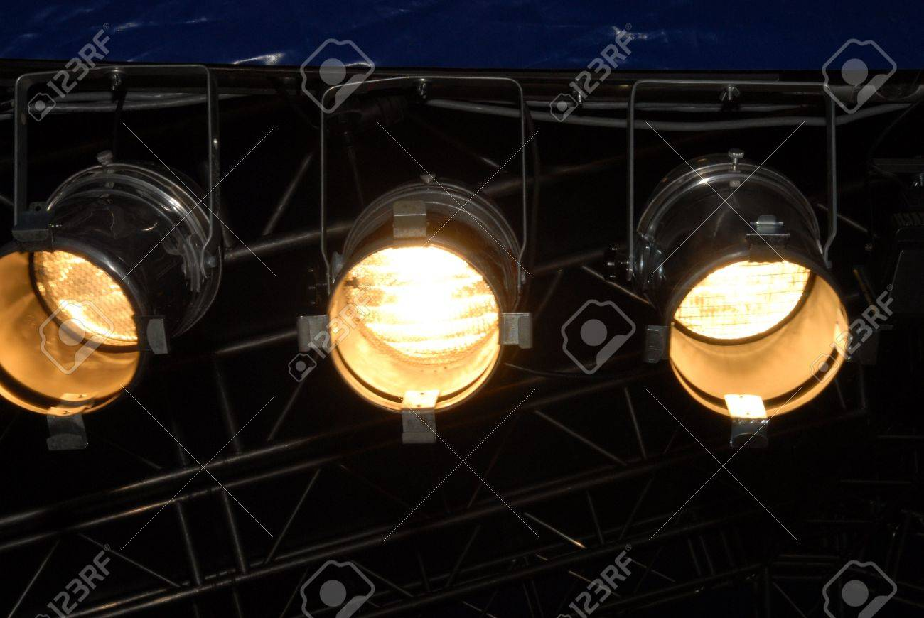 stage lighting system under roof and sky spotlights outdoor