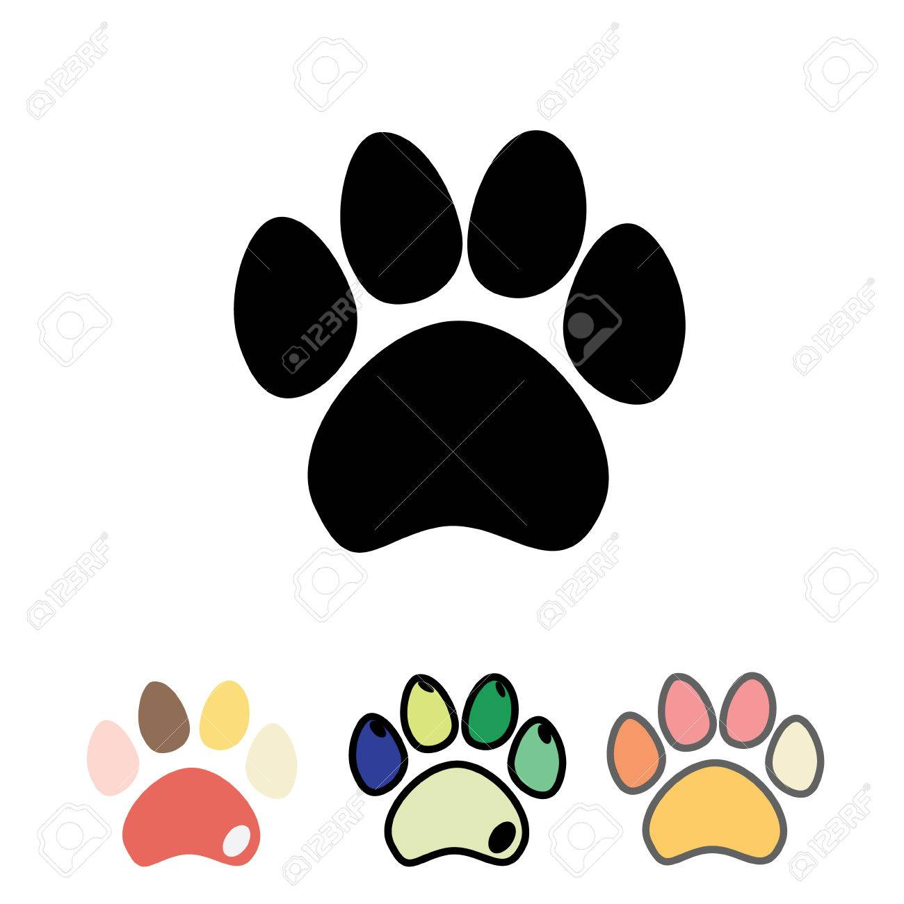 601e372632f5 Vector illustration. Cats or dogs paws set. Cute funny silhouette of animal  footprints on white background.