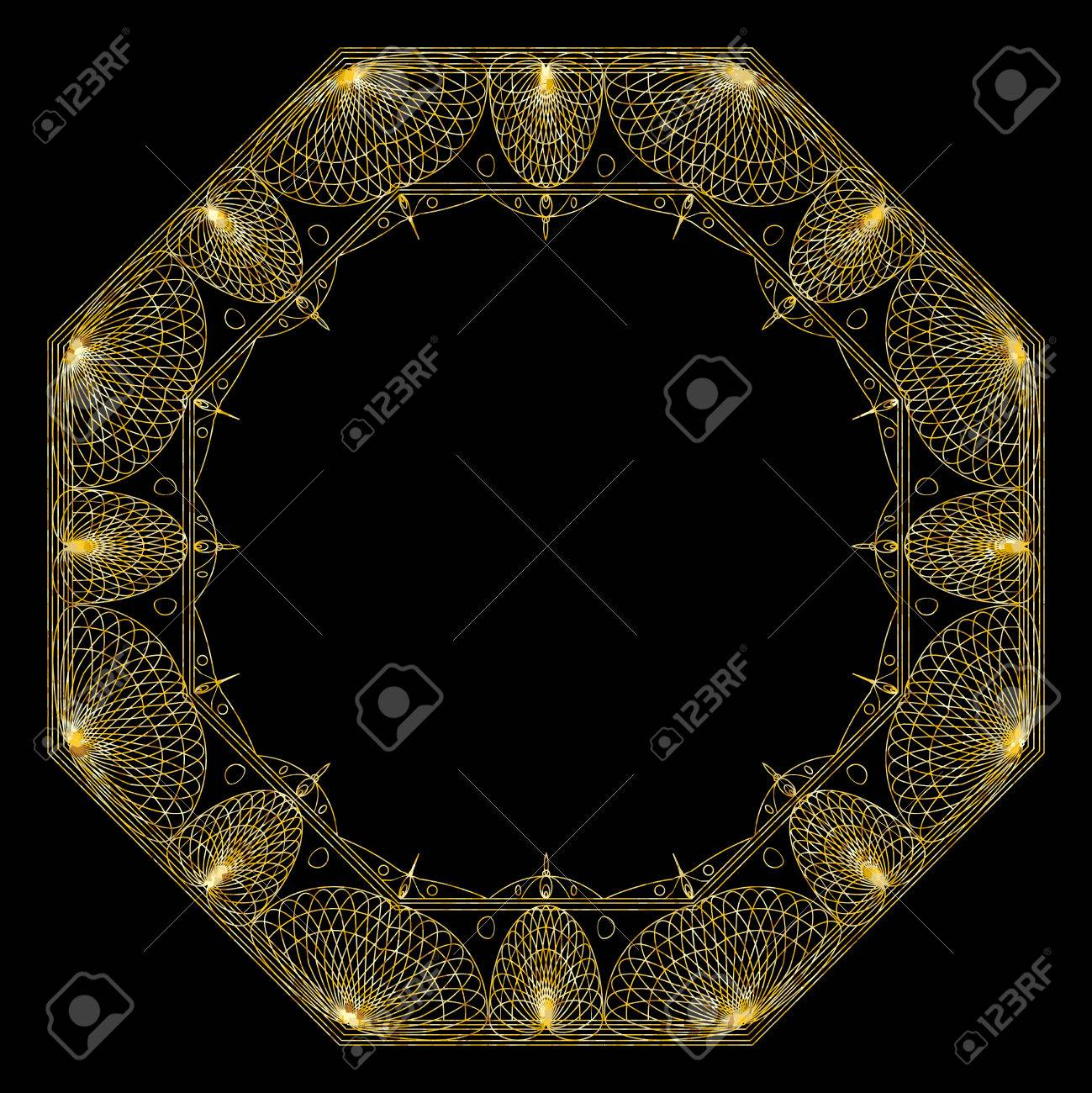 Gold Mandala For Coloring Book Decorative Black Round Outline