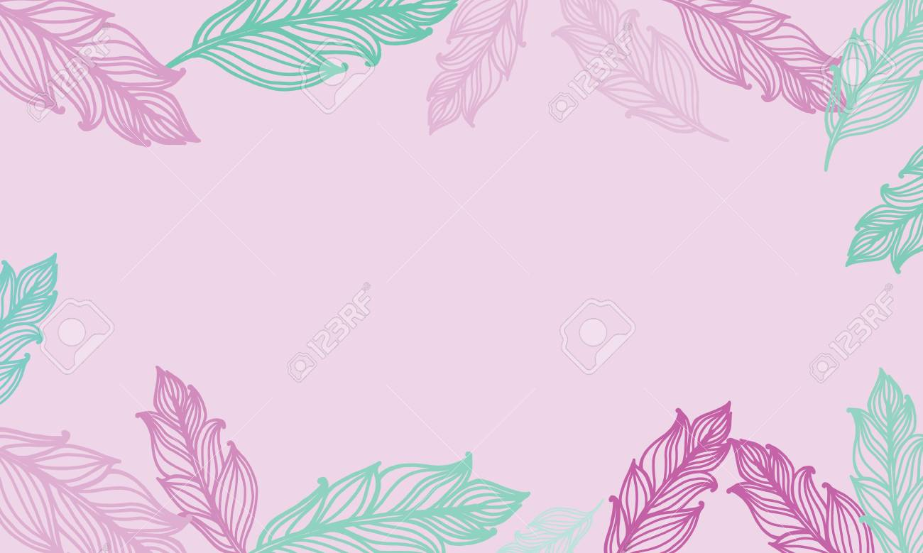 cute background with feathers card design with border in bohemian