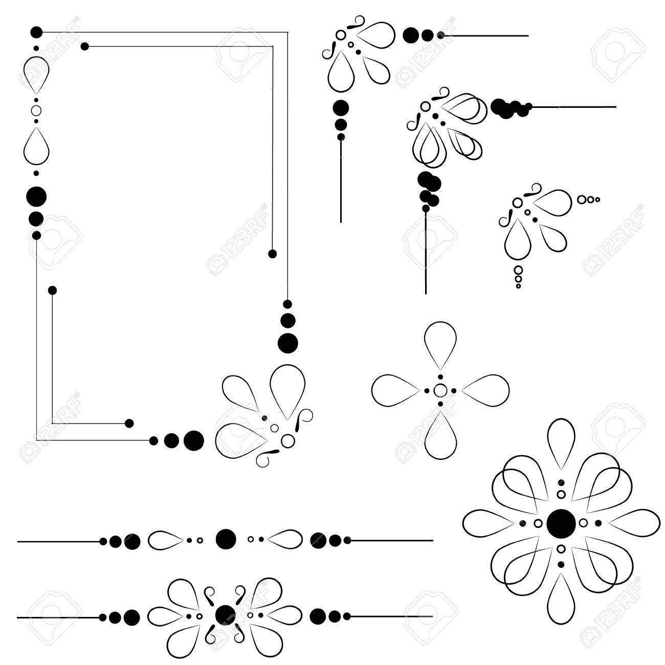 set of ornate line art frames and borders black outline elements