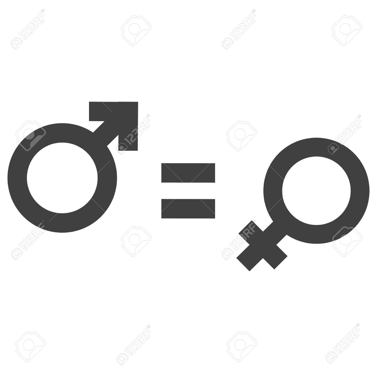 Gender Inequality And Equality Icon Symbol Male Female Girl Stock