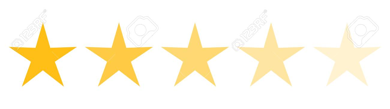 Isolated Gold And Yellow Star Icons In Set Ranking Mark Modern