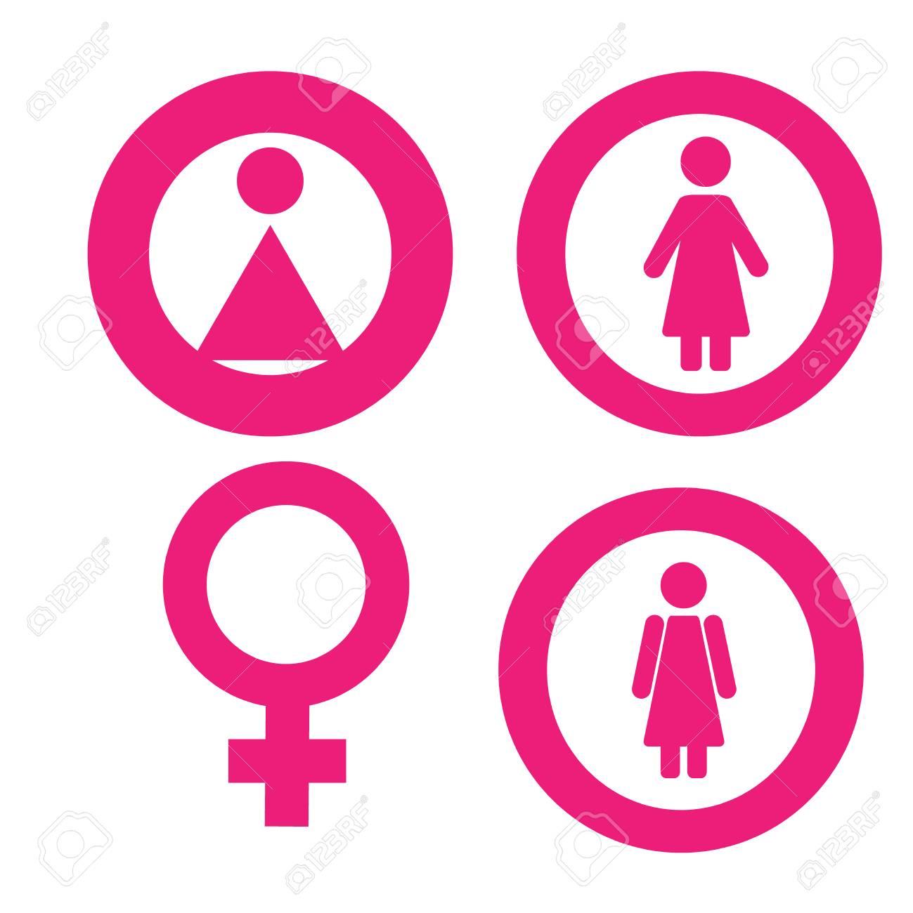Gender Symbol Set Male Female Girl Boy Woman Man Icon Stock Photo