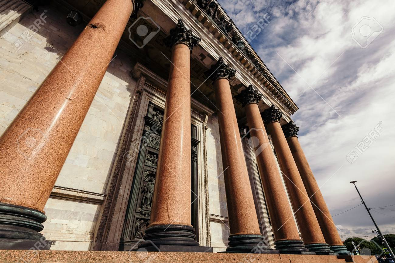 Exterior view of huge columns decorating entrance to beautiful..