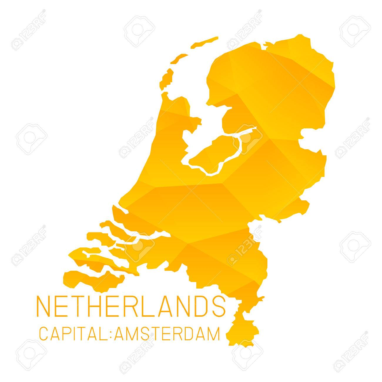 Netherlands Map Geometric Background Royalty Free Cliparts