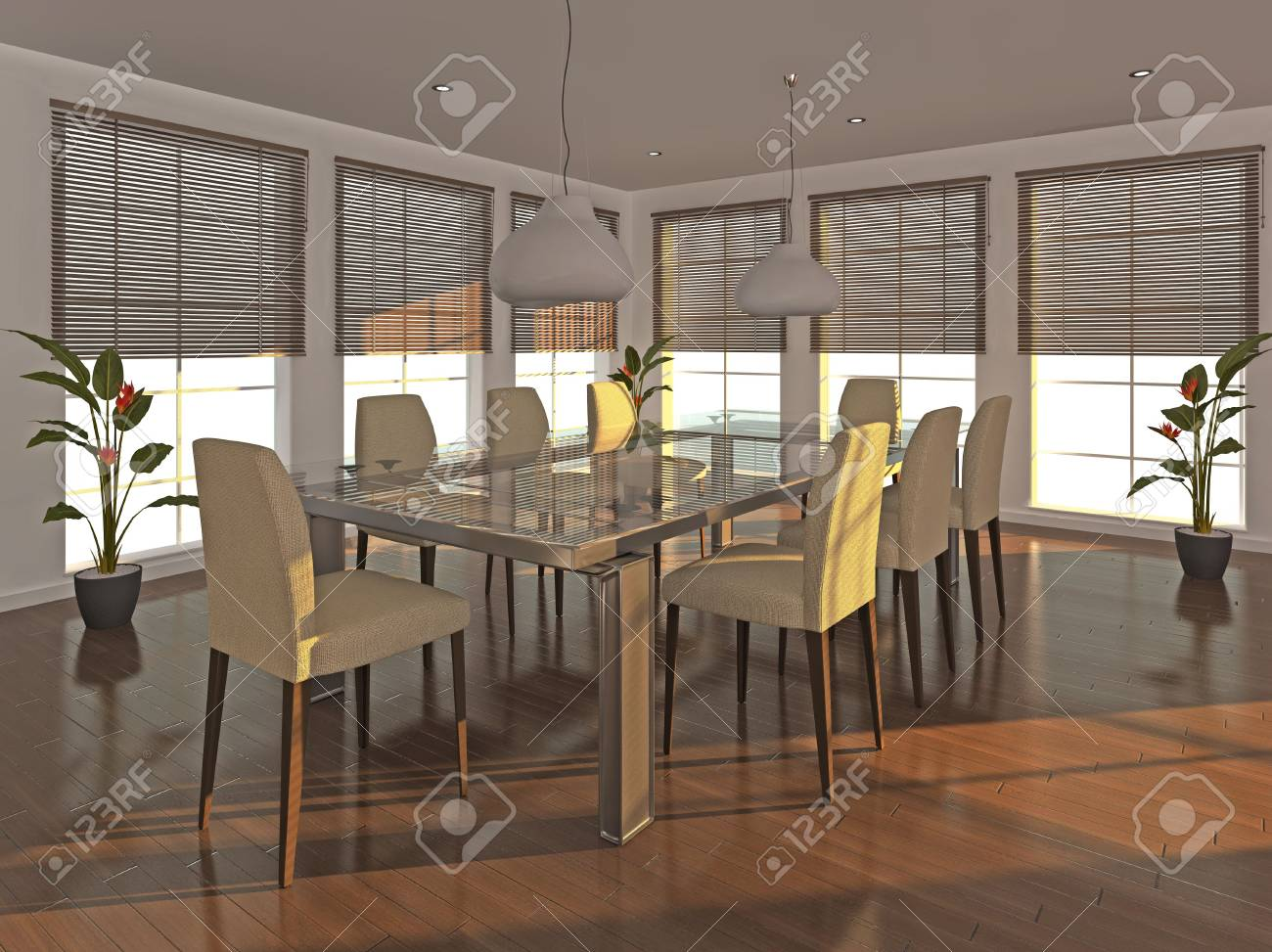 High quality illustration of a dining room interior in the early evening. Stock Illustration - 5460920