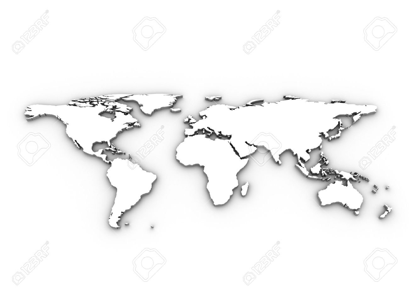 White 3d World Map Illustration Tip Try Setting Layer Mode Stock