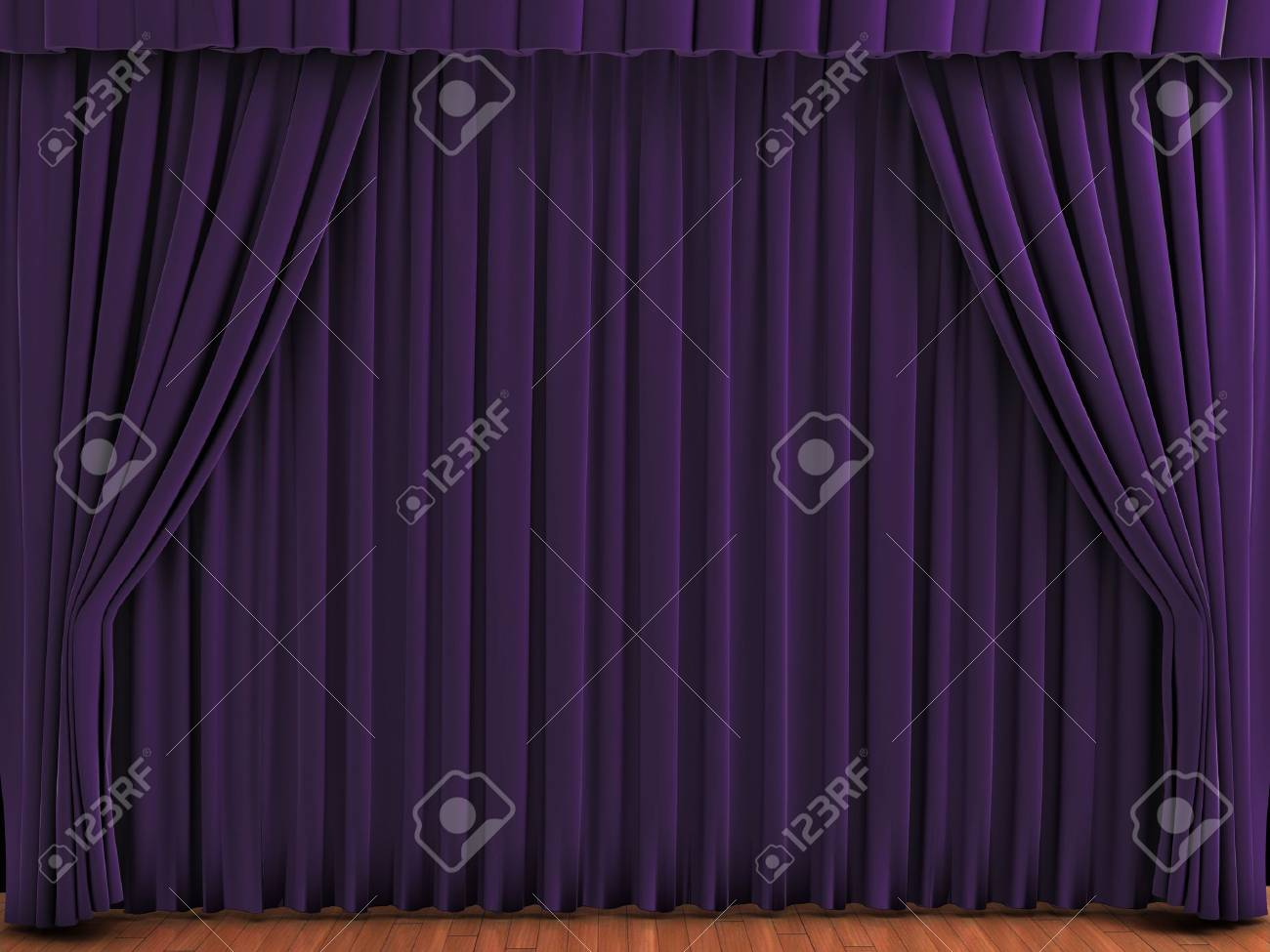 Purple theater curtains. Realistic illustration of velvet curtains. See my portfolio for alternative colors. Stock Photo - 5578499