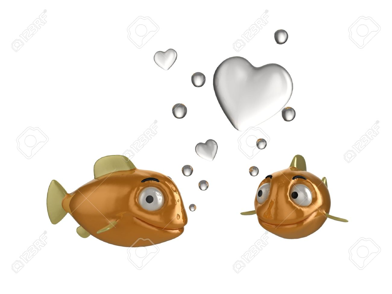 Close up of goldfish in love illustration. Two fish blowing heart shaped bubbles. See my portfolio for alternative views. Stock Illustration - 5664597