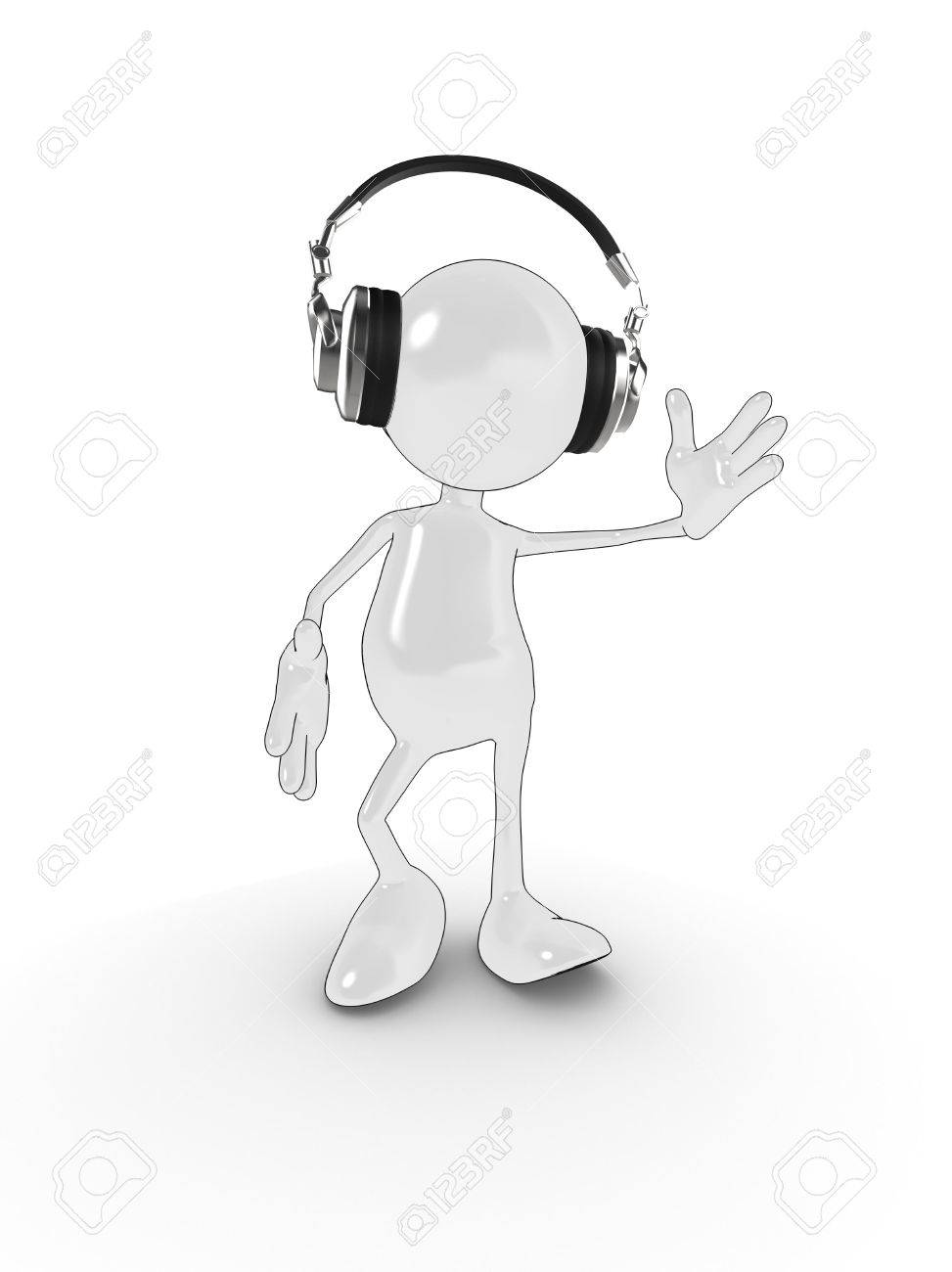 3d cartoon character with headphones dancing to music. Please see my portfolio for more in the series. Stock Photo - 5700313