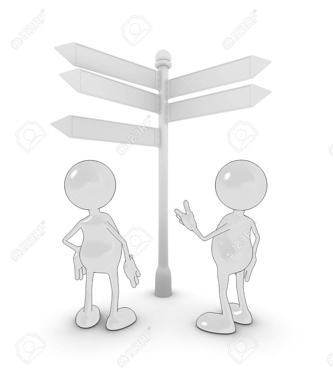 3d cartoon characters looking at a sign for directions. Please see my portfolio for more in the series. Stock Photo - 5700300