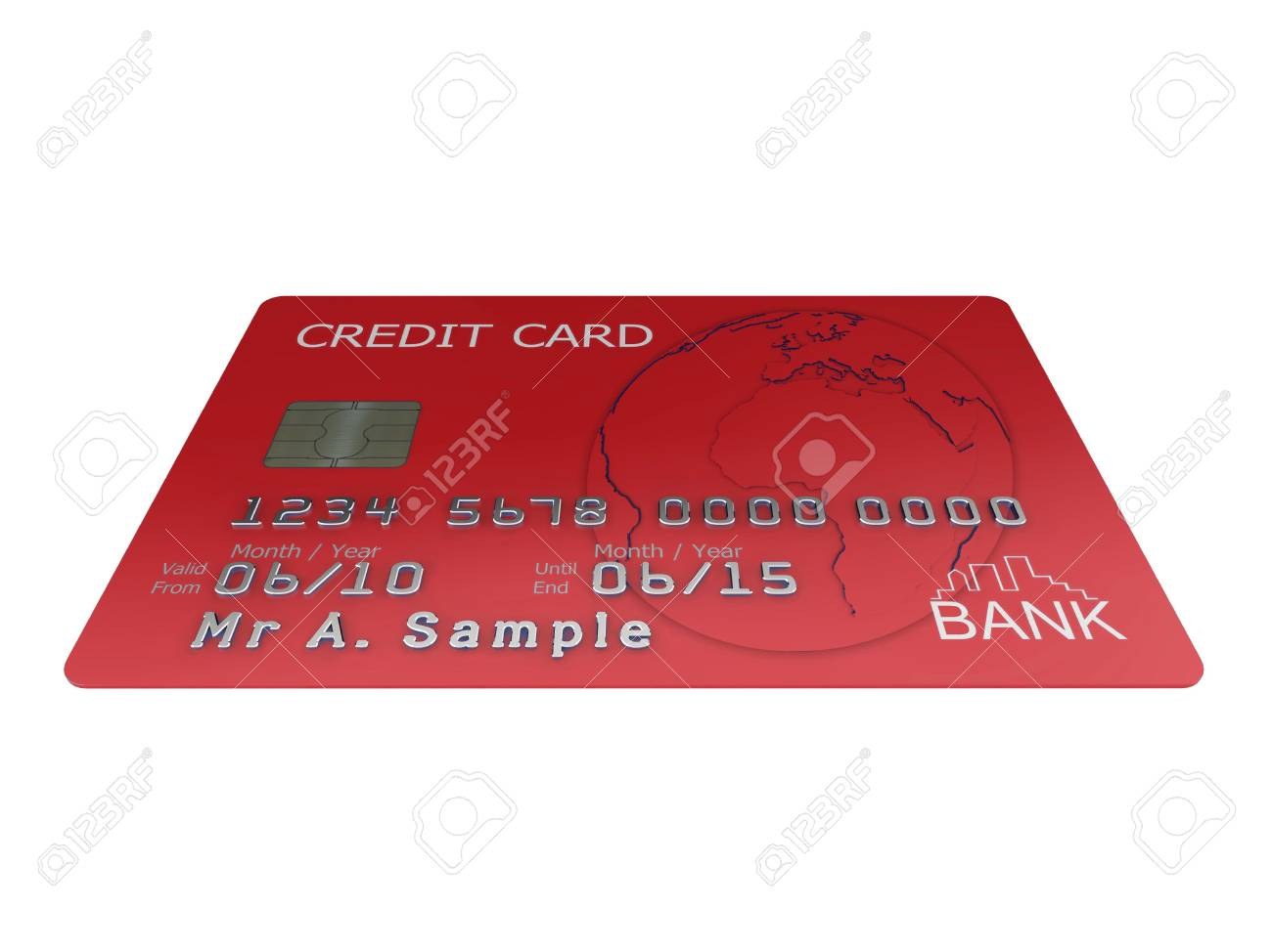 Realistic illustration of a red credit card with fictional details, isolated on a white background. Stock Illustration - 5754330