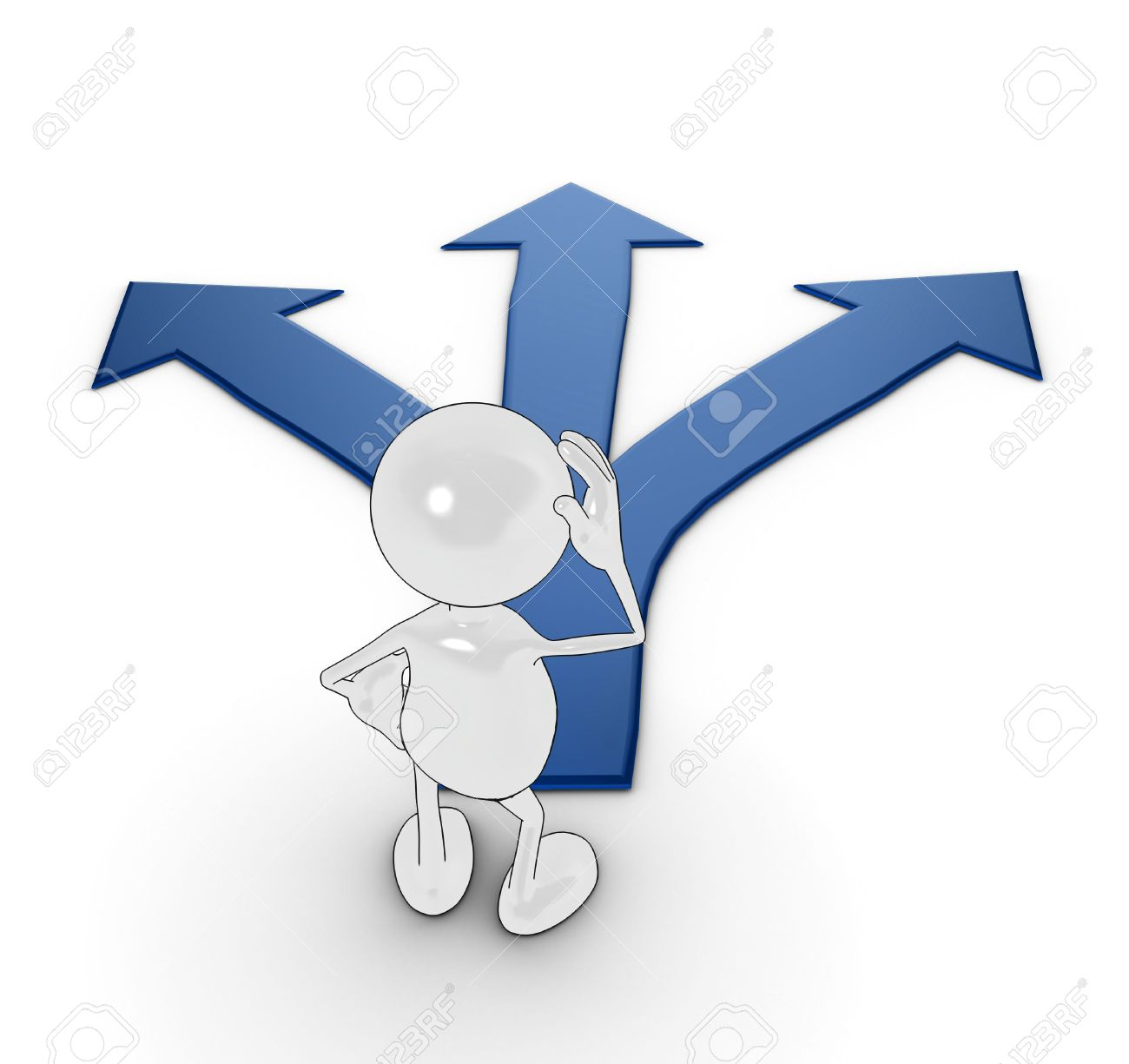 3d cartoon character choosing which path to take. Stock Photo - 5772221
