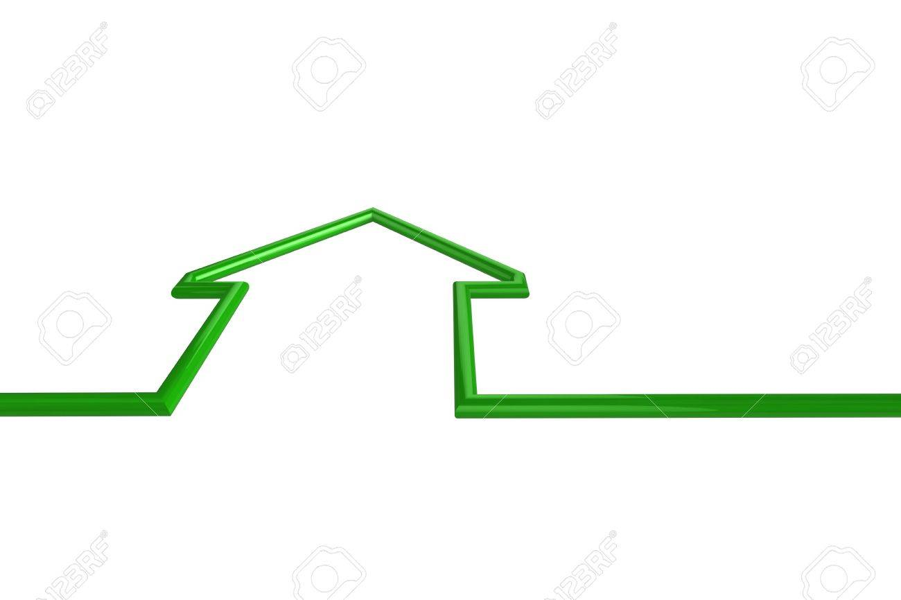 House outline picture - House Outline 3d Illustration Of A Green House Outline
